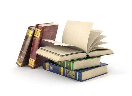 old page: Render of group of different books with blank pages, isolated on white background.