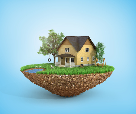 dream land: Concept of sweet home. House with on the grass with trees on the island is flying. Stock Photo