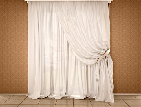 white curtains: 3D Illustration Of White Curtains On The Dark Walls Stock Photo