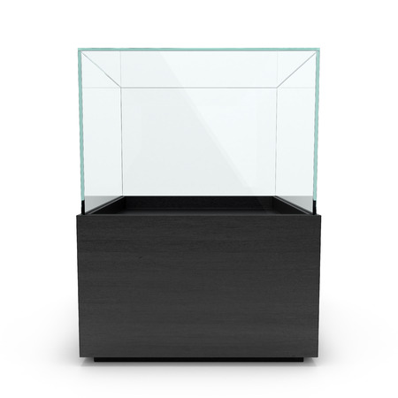 expansive: Empty Black glass showcase for exhibit isolated in white backgrownd