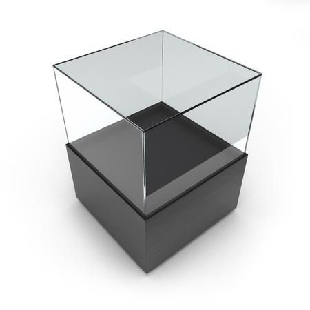 exhibit: Empty Black glass showcase for exhibit isolated