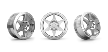 disks: Collection car disks  for tires isolated on white. Stock Photo
