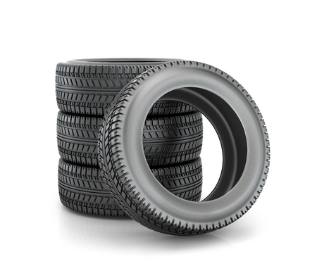 tyre tread: Stack of four wheel new black tyres for  car isolated on white background