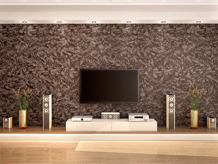 home theater: 3d illustration of modern home theater in a cozy interior