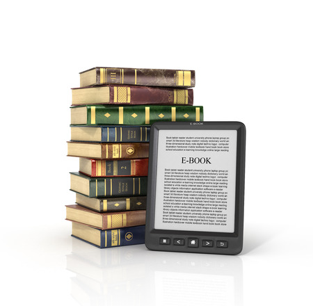 ereader: E-book reader with stack of the book on a white background. Stock Photo
