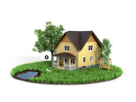 sweet grass: Concept of sweet home. House with on the grass with trees on the island is flying on a white background.