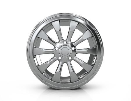 vulcanization: Chrome car disc on a white background. Stock Photo