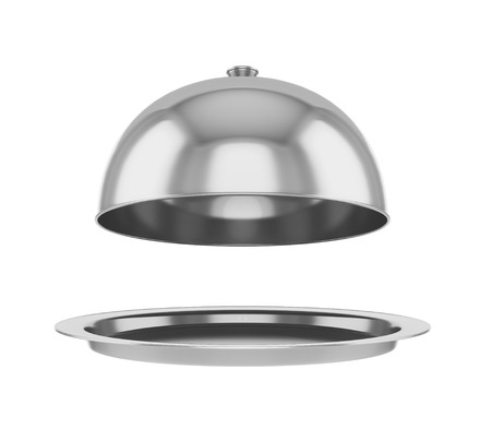 lid: Restaurant cloche with open lid. Stock Photo