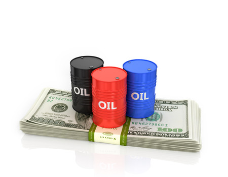 pack of dollars: Three oil barrels on a pack of dollars.