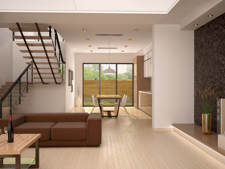 home furnishings: 3d illustration of good modern interior view from the living room warm colors