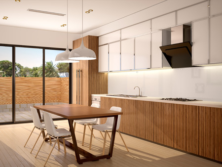 clean kitchen: 3d illustration of Modern kitchen interior and dining room in a new house in warm colors with a beautiful view outside the window