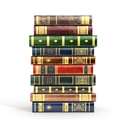 books isolated: 3d render of stack old colorful books on a white background.