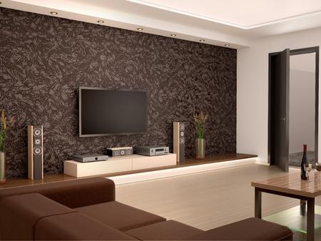居心地の良い部屋でインテリア モダンなホームシアターの 3 d イラストレーション