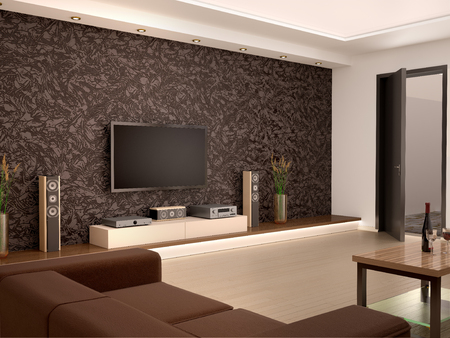 comfort room: 3d illustration of Interior modern home theater in a cozy room