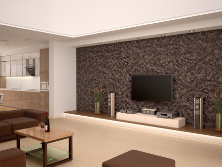 overlooking: 3d illustration of Interior modern home theater in a cozy room overlooking the kitchen