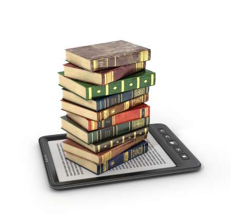 student with books: E-book reader with stack of the book on a white background. Stock Photo