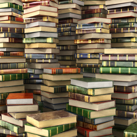 bales: 3d render of big pile of colorful books on full screen.