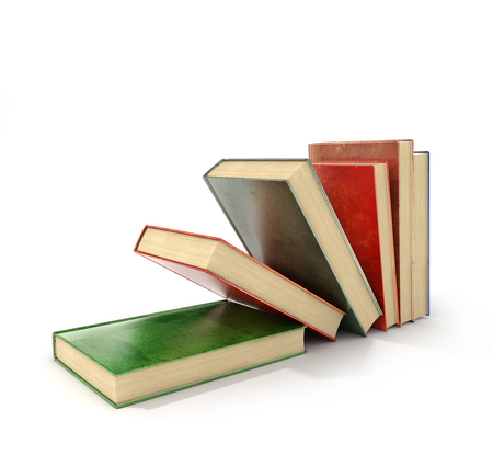 quantity: 3d render of stack old colorful books on a white background.