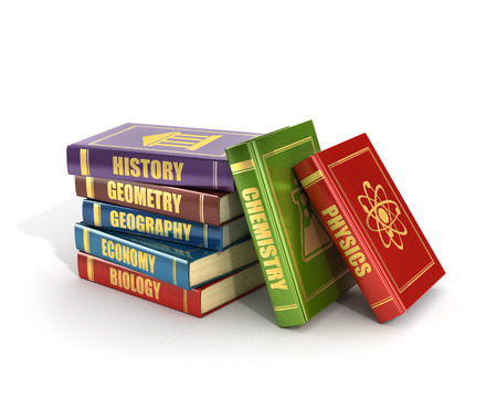 large group of objects: 3d render of stack old colorful school books on a white background.