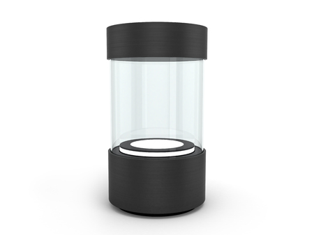 round black Showcases with a pedestal with lighting inside Stock Photo