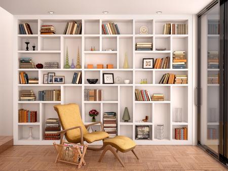 biblioteca: Ilustración 3D de estantes blancos para la decoración y una biblioteca en el inter Foto de archivo