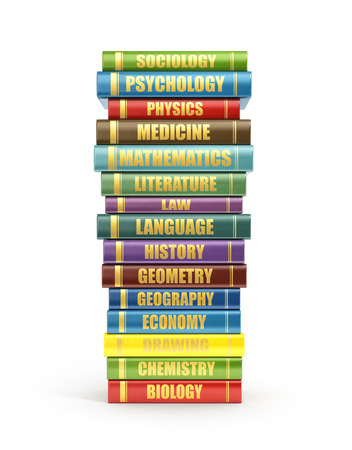 bale: 3d render of stack old colorful school books on a white background.