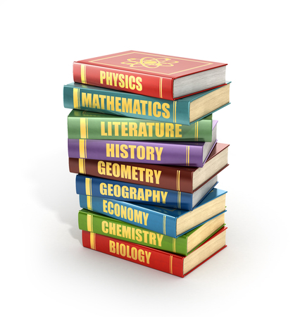 bales: 3d render of stack old colorful school books on a white background.