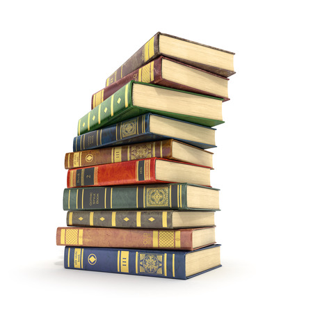 bale: 3d render of stack old colorful books on a white background.