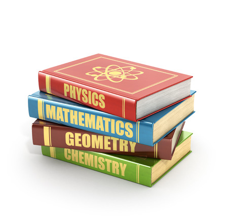 large group of objects: 3d render of stack old colorful books on a white background.