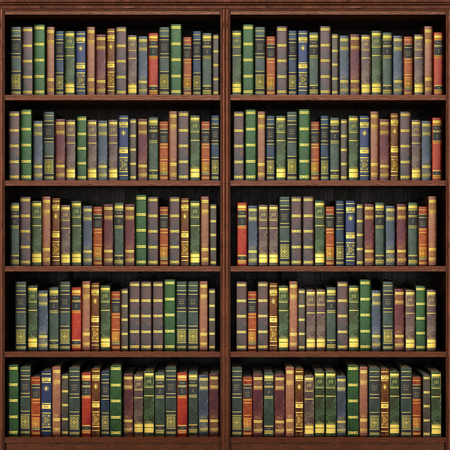 Bookshelf full of books background. Old library.