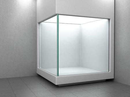exhibition: Empty white glass showcase
