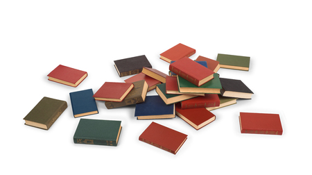 scattered books on the floor isolated on white background