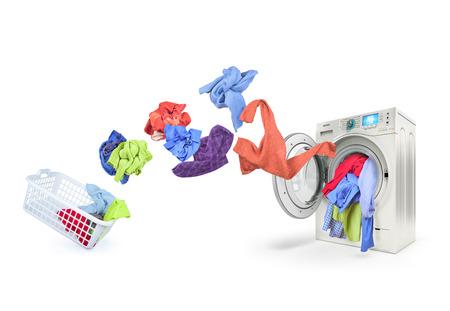 clothing falls into the washing machine Standard-Bild