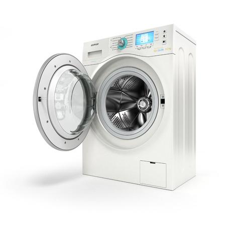 白い背景の上に洗濯機を開いてください。