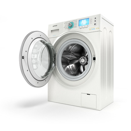 machines: Opening washing machine on white background