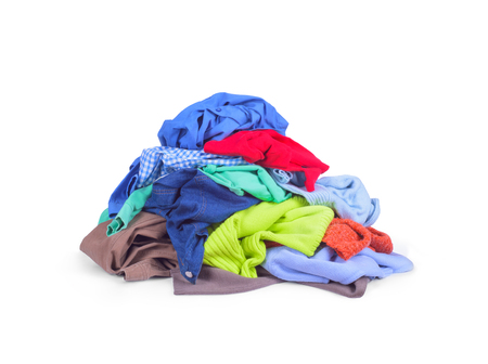 heap of colorful clothes, isolated on white background