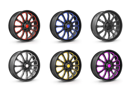rims: Collection of car wheel rims, isolated on white background