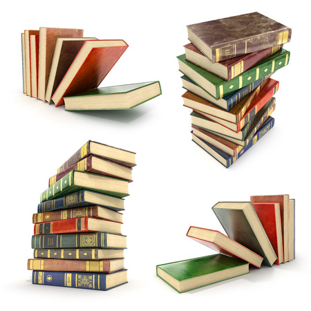 bale: Set of pile of colorful books on a white background. Stock Photo