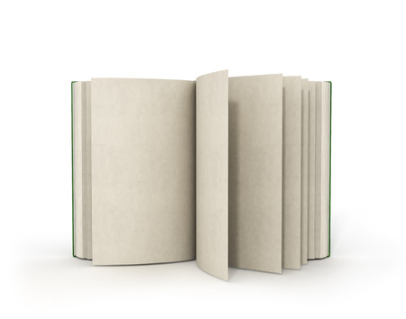 bales: 3d render of one open book on a white background.
