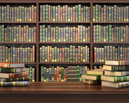 Bücher auf dem Tisch im Fokus auf dem unscharfen Hintergrund Bücherregal voller Bücher. Konzept der Bibliothek. Standard-Bild