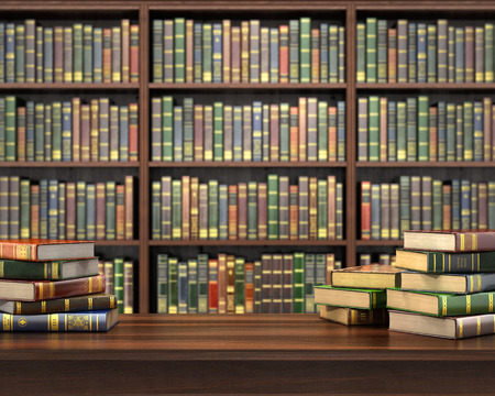 Books on the table in the focus on the blurred background bookshelf full of books. Concept of library. Stock Photo