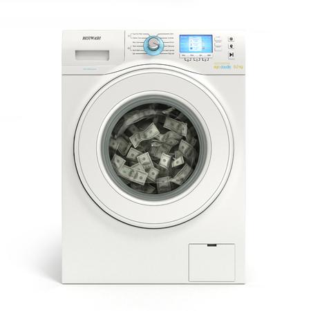 money laundering concept, banknotes dollar machine washable