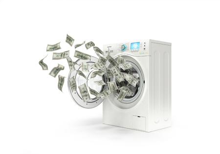 money laundering concept, dollar bills fly in the washing machine Standard-Bild