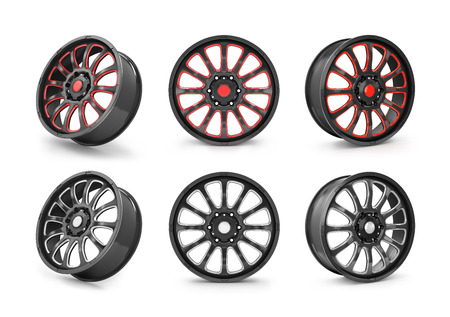 rim: Collection of car rim isolated on white.