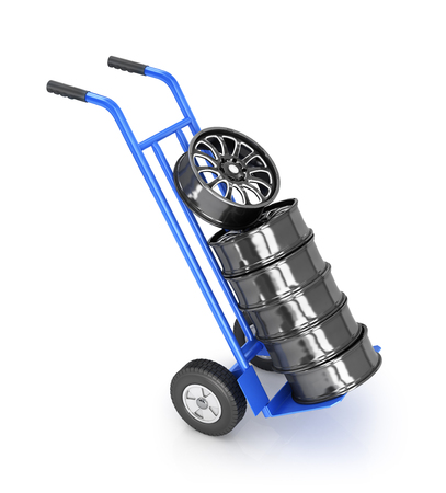 rims: two-wheeled trolley with car rims Stock Photo