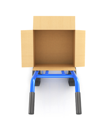 hand truck: hand truck with an open cardboard box, top view isolated on a white background