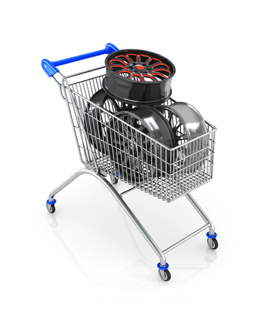 rims: The car rims in shopping cart, isolated on white background