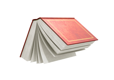 large group of objects: 3d render of one open book on a white background.