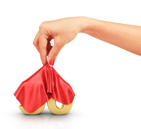 hide: Concept of hide percent. Gold percents hide under the cloak that removes a womans hand. Surprise sale.