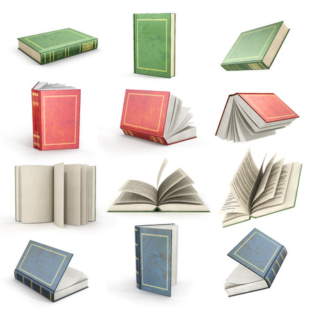 Set of flying open books. Green, red and blue books.